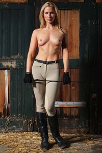 Model Peyton Priestly in Riding Cup