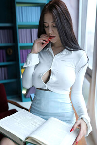 Model Tanya Bahtina in Librarian